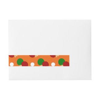 Orange ping pong pattern wraparound address label