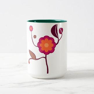 Orange - pink blossom mugs