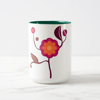 Orange - pink blossom Two-Tone coffee mug