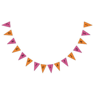 orange/Pink Congratulations Party Bunting Banner