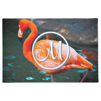 Orange pink flamingo photo custom monogram doormat