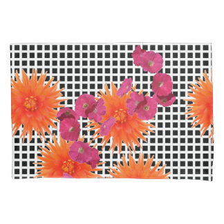 Orange Pink Flowers B/W Check Pair of Pillowcases