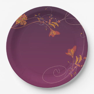 Orange Pink Flowers Vines Purple Background 9 Inch Paper Plate