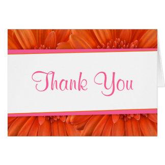 Orange Pink Gerbera Daisy Flower Thank You Card