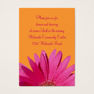 Orange & Pink Gerbera Daisy Reception Card