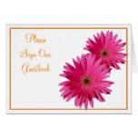 Orange Pink Gerbera Daisy Wedding Sign Card