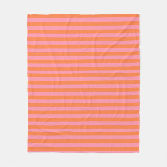 Orange Pink Summer Mood Lines Fleece Blanket
