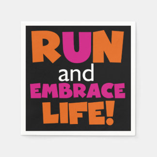 Orange Pink Text Fitness Running Runner Marathon Disposable Napkins