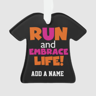 Orange Pink Text Fitness Running Runner Marathon Ornament