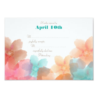 Orange Pink & Turquoise Floral > Wedding RSVP Card