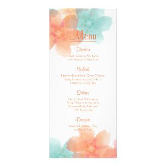 Orange, Pink, & Turquoise> Reception Menu Full Color Rack Card