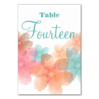Orange, Pink& Turquoise Wedding Table # 14 Card Table Cards