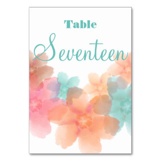 Orange, Pink& Turquoise Wedding Table # 17 Card Table Card