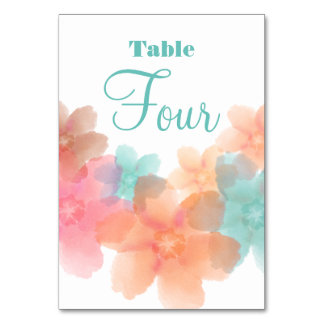 Orange, Pink& Turquoise Wedding Table # 4 Card Table Cards