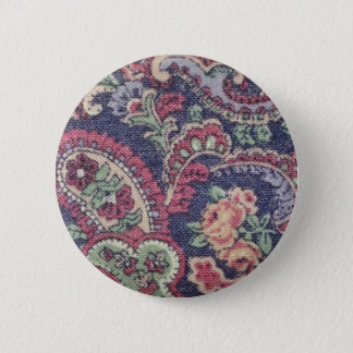 Orange Pink, white and green flowers with paisley 2 Inch Round Button