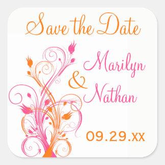 """Orange Pink White Floral 1.5"""" Wedding Sticker"""