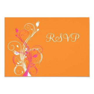Orange Pink White Floral RSVP Card