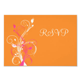 Orange Pink White Floral RSVP Card Personalized Invitation