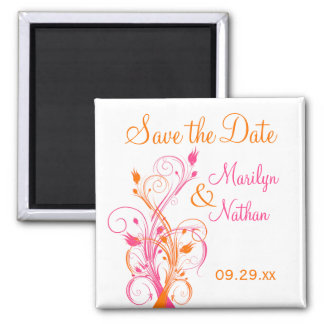 Orange Pink White Floral Save the Date Magnet