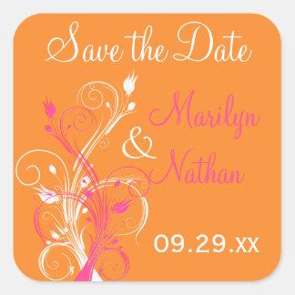Orange Pink White Floral Save the Date Sticker