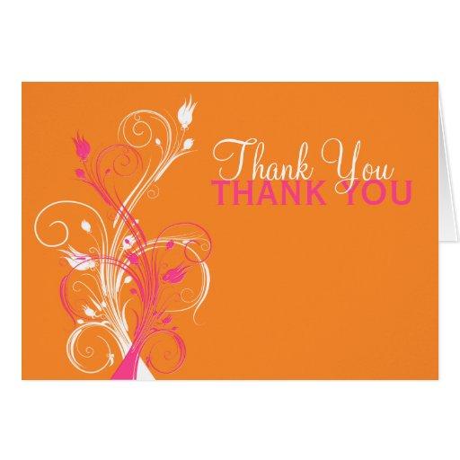 Orange Pink White Floral Thank You Card Greeting Cards