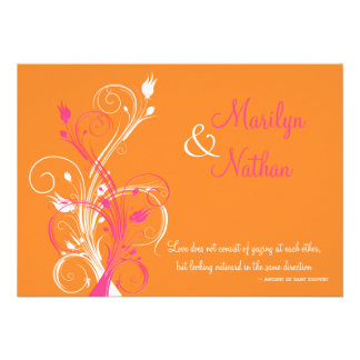 Orange Pink White Floral Wedding Invitation