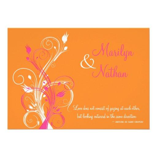 Orange Pink White Floral Wedding Invitation