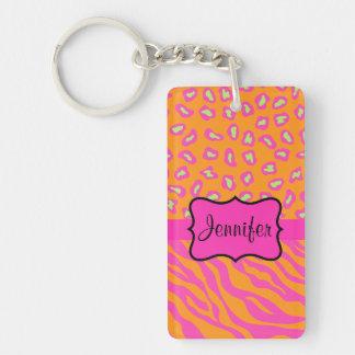 Orange & Pink Zebra & Cheetah Personalized Double-Sided Rectangular Acrylic Keychain