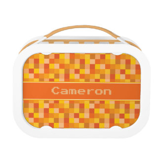 Orange Pixelated Pattern | Personalized Lunchboxes