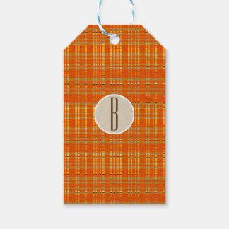 Orange Plaid & Brown Kraft Rustic Monogram Initial Gift Tags