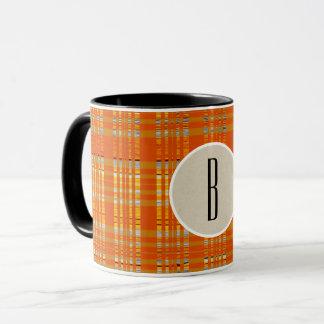 Orange Plaid & Brown Kraft Rustic Monogram Initial Mug