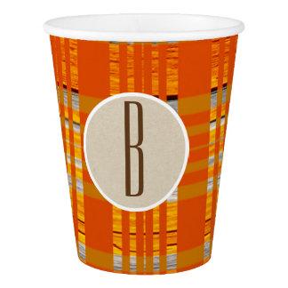 Orange Plaid & Brown Kraft Rustic Monogram Initial Paper Cup