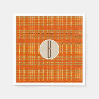 Orange Plaid & Brown Kraft Rustic Monogram Initial Paper Napkins
