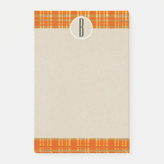 Orange Plaid & Brown Kraft Rustic Monogram Initial Post-it Notes