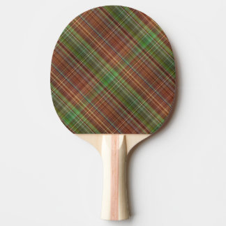 Orange Plaid Design Ping Pong Paddle