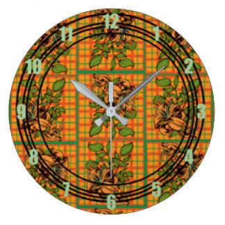 Orange Plaid Floral Cutout Large Clock