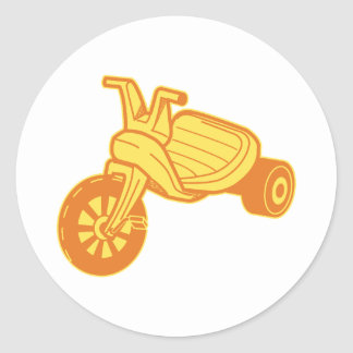 Orange Plastic Tricycle Graphic Round Sticker