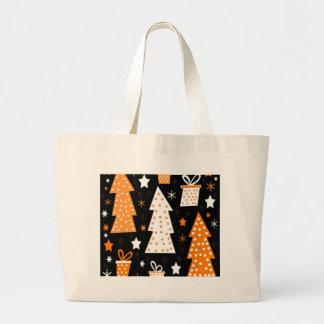Orange playful Xmas Large Tote Bag