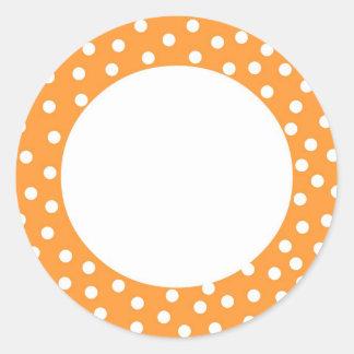 Orange polka dot label