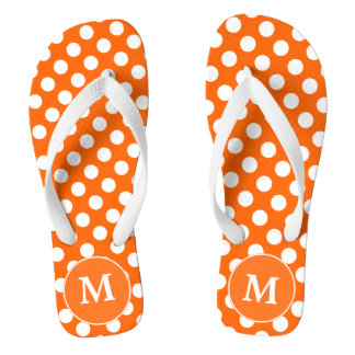 Orange Polka-Dot Monogrammed Flip-flops Flip Flops
