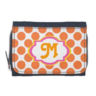 Orange Polka-Dot Monogrammed Wallet