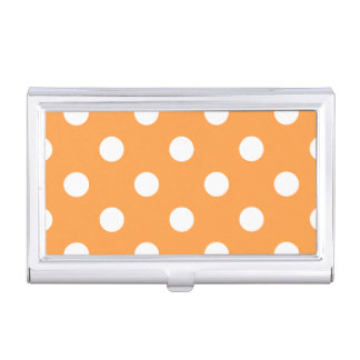 Orange Polka Dot Pattern Business Card Holder