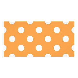 Orange Polka Dot Pattern Photo Card Template