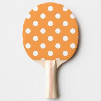 Orange Polka Dot Pattern Ping Pong Paddle