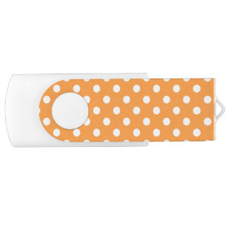 Orange Polka Dot Pattern USB Flash Drive