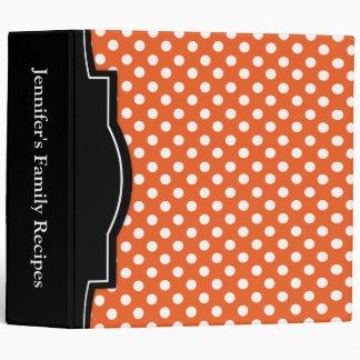 "Orange Polka Dot personalized 2"" Recipe Binder"