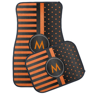 Orange Polka Dots and Black Stripes Car Mat