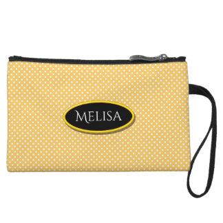 Orange Polka Dots Name Mini Clutch Bagettes Bags Wristlet Clutch