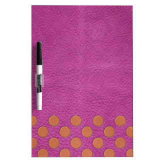 Orange Polka Dots on Pink Magenta Leather print Dry Erase Board