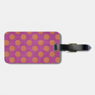 Orange Polka Dots on Pink Magenta Leather print Luggage Tag
